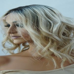 Blonde Dark Rooted Ombre Human Hair Wig